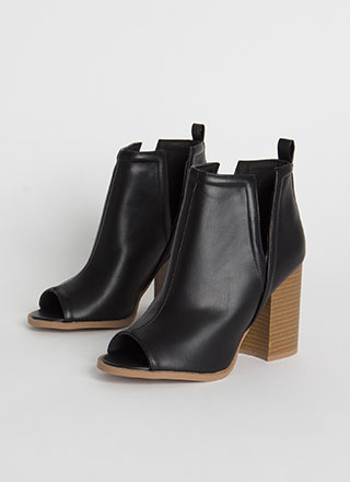 Ready Or Notch Chunky Peep-Toe Booties