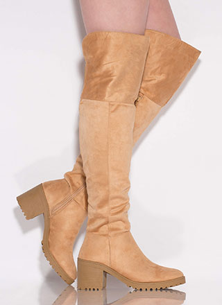 One True Lug Block Heel Thigh-High Boots
