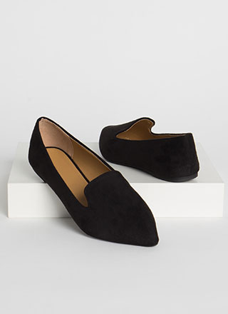On The Move Faux Suede Smoking Flats
