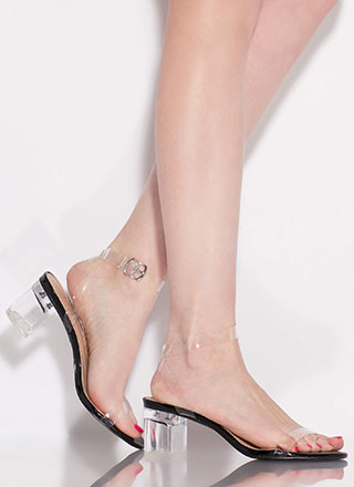 Clear Contender Lucite Block Heels