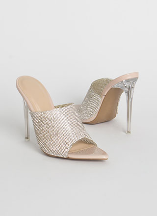 Clear A Path Jeweled Peep-Toe Mule Heels