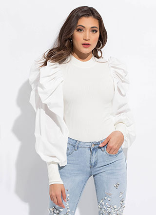 Bring The Drama Pleated Puff Sleeve Top