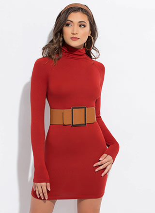 What An Asset Turtleneck Minidress