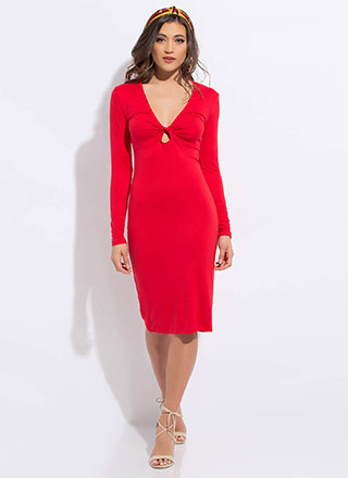 But With A Twist Keyhole Midi Dress