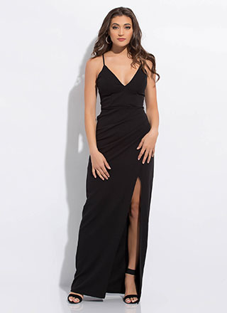 Something Special Slit Lace-Back Gown