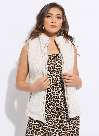 Warming Up Zip-Up Faux Shearling Vest