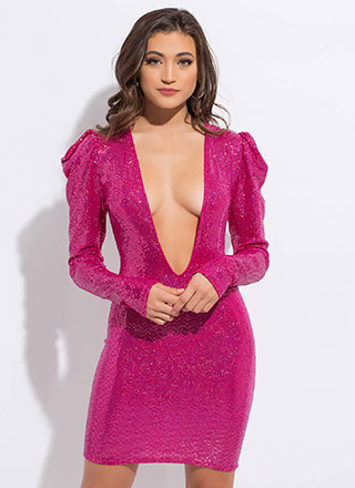 Sparkle Party Plunging Puff Sleeve Dress