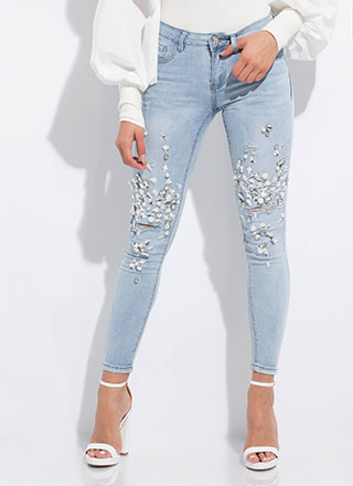 Diamonds And Pearls Embellished Jeans