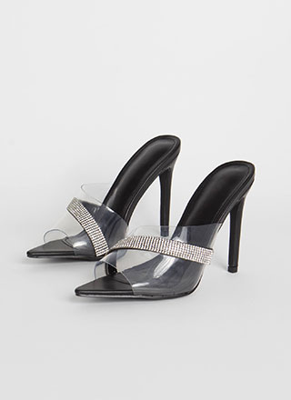 It's Clear Jeweled Peep-Toe Mule Heels