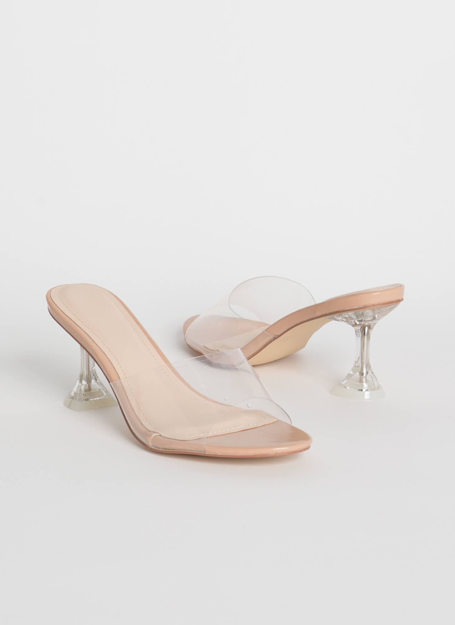 Base Instinct Clear Illusion Mule Heels
