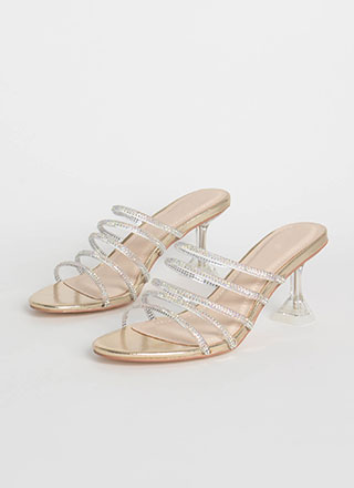 Base Instinct Jewel Strap Lucite Heels