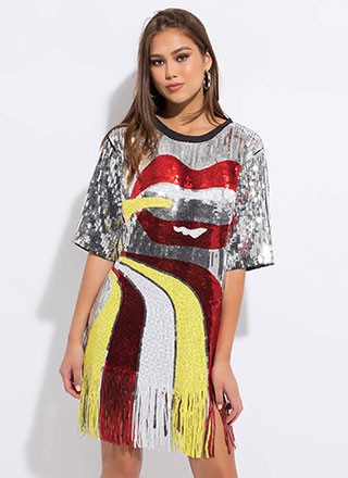 Mouth Off Fringed Sequin Shirt Dress