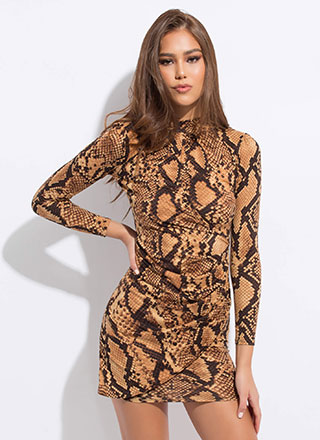 Slither Wrapped Snake Print Minidress
