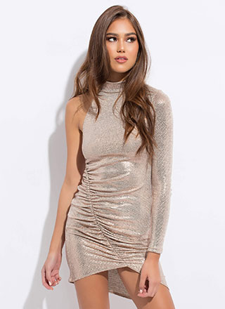 Arm Candy Shiny Metallic Minidress