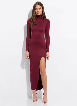 Slit Up Straight Turtleneck Maxi Dress