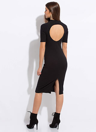 Social Circle Cut-Out Back Midi Dress