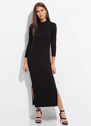 Everyday Double Slit Mockneck Maxi Dress