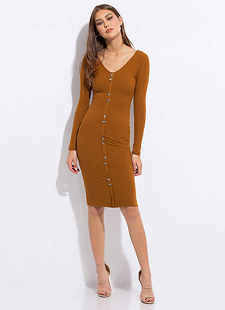 Pushing My Buttons Ribbed Midi Dress