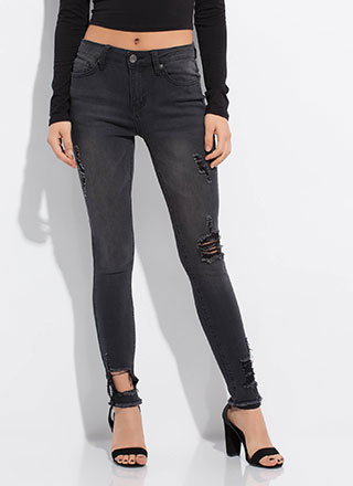 Get Faded Distressed Cut-Out Jeans