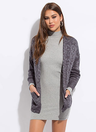Heather Weather Ribbed Knit Cardigan