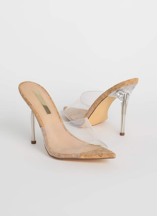 Keep Clear Peep-Toe Lucite Cork Heels