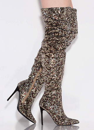 Spotted Slouchy Sequin Thigh-High Boots