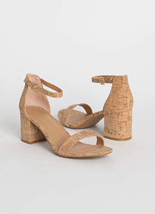 Cork It Chunky Ankle Strap Block Heels