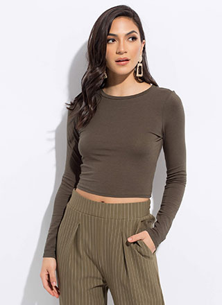 Every Color Basic Long-Sleeved Crop Top