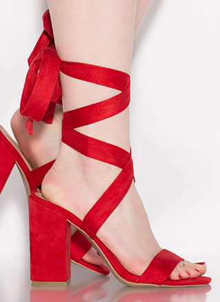 To Tie For Lace-Up Chunky Heels