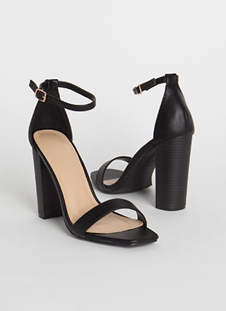 Go For It Chunky Ankle Strap Heels