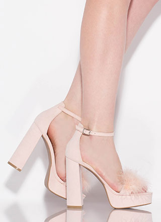 Furs And Feathers Chunky Platform Heels