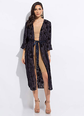 Silk Flowers Tied Slit Duster Robe