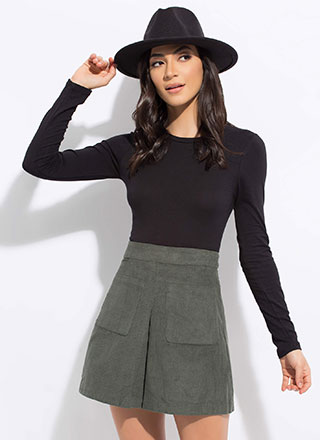 Pleated And Pocketed Corduroy Miniskirt