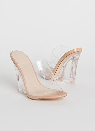 Clear Up Faux Patent Lucite Wedges