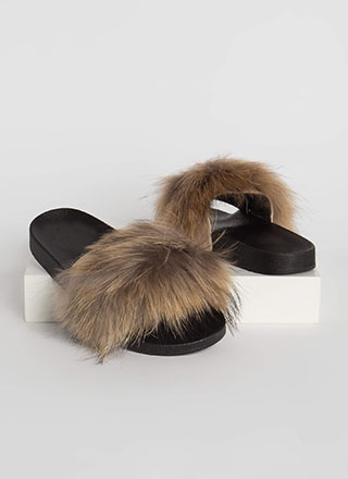 Shaggy Chic Faux Fur Slide Sandals