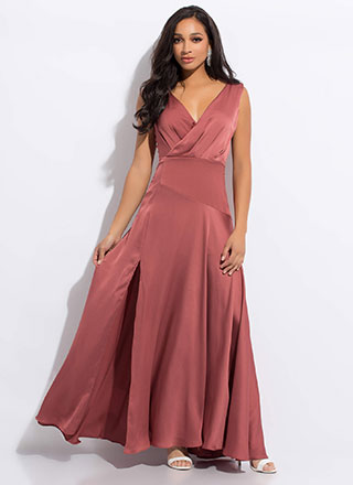 Keep The Dresses Flowing Silky Slit Gown