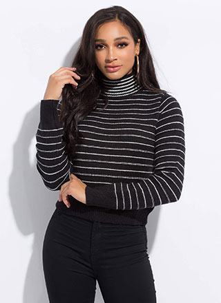 Line Up Pinstriped Turtleneck Sweater