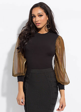 Strong Arm Metallic Puffy Sleeve Top