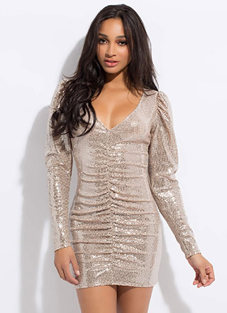 Glisten Up Ruched Sequin Minidress