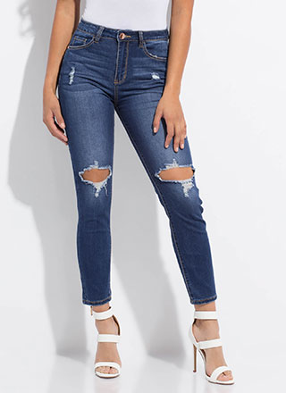 Hole Thing Destroyed Slim-Fit Jeans