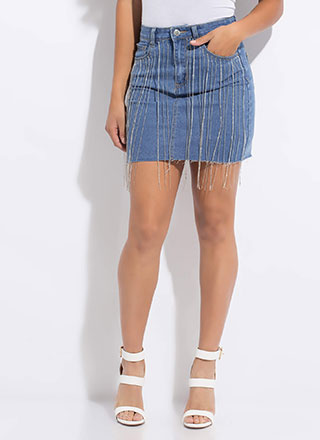Keep Sparkling Chain Fringe Denim Skirt