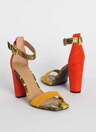 Snake Up My Mind Colorblock Heels