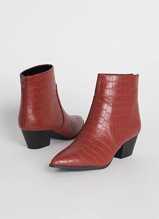 Mystique Pointy Faux Crocodile Booties