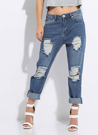 It's Casual Destroyed Girlfriend Jeans