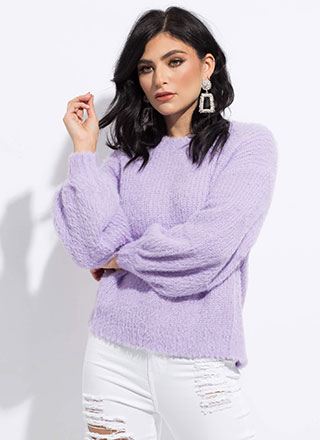 Fuzzy Memory Knit Balloon-Sleeve Sweater