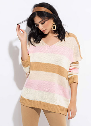 Chic Stripes Oversized Knit Sweater