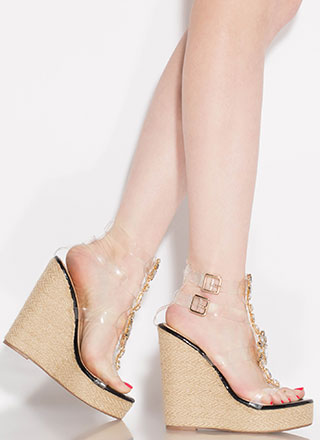 Clearly Gorgeous Jeweled Platform Wedges