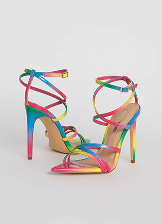 All Straps Pointy Rainbow Heels