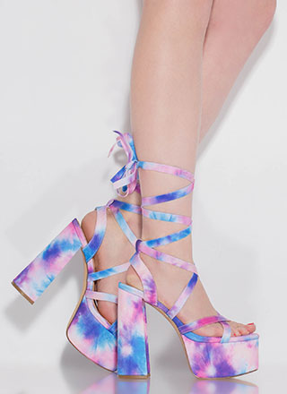 Get High Lace-Up Tie-Dye Platforms