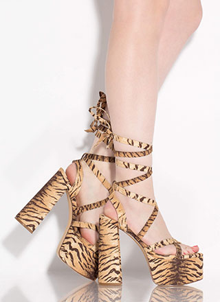 Get High Lace-Up Tiger Stripe Platforms